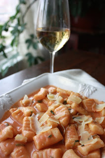 roasted garlic gnocchi with rose sauce