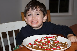 Ben with his gingerbread creations
