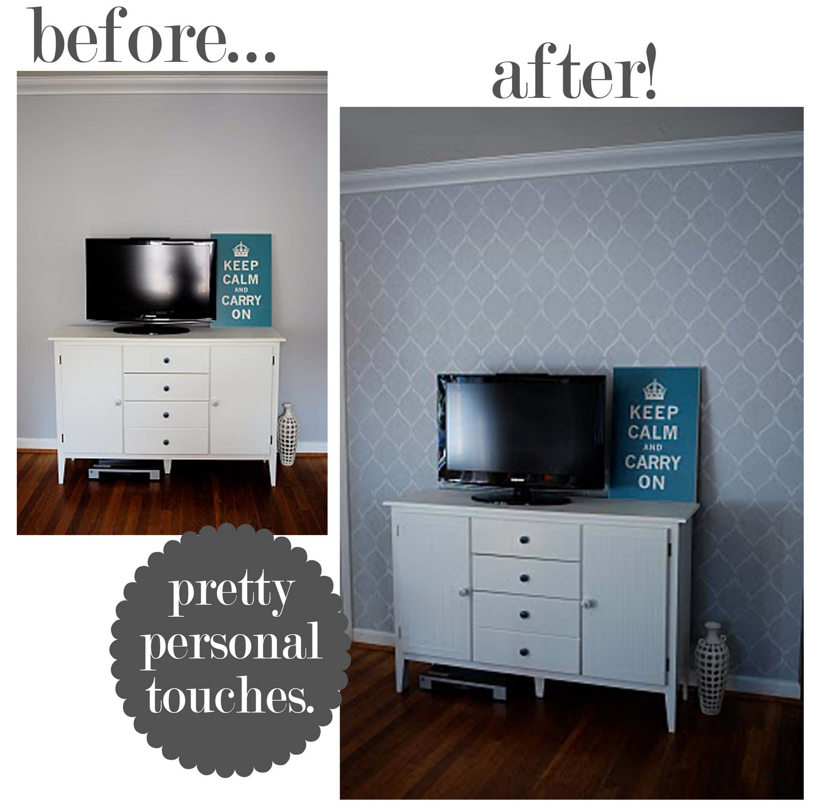 Stenciled accent wall archives at home with natalie one was a stamp a stencil what a great transformation a little detail that added such vavavoom to the room it immediately looks more decorated amipublicfo Image collections