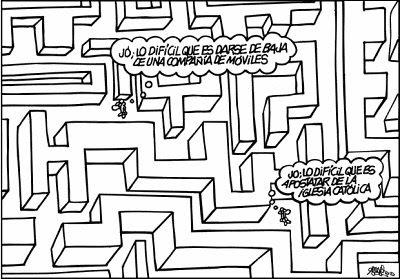 Lo difícil que es apostatar - Forges, en El País (20.11.06)
