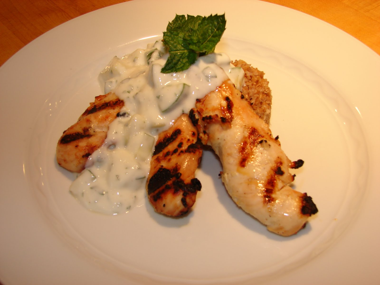 Marinated Grilled Chicken with Cucumber Mint Yogurt Sauce Recipe - The ...