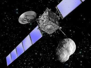 Sonda Rosetta y un asteroide