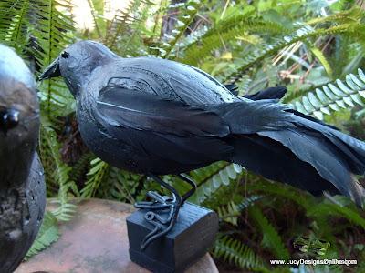 "12"" DIY Halloween feathered black raven sculptures"
