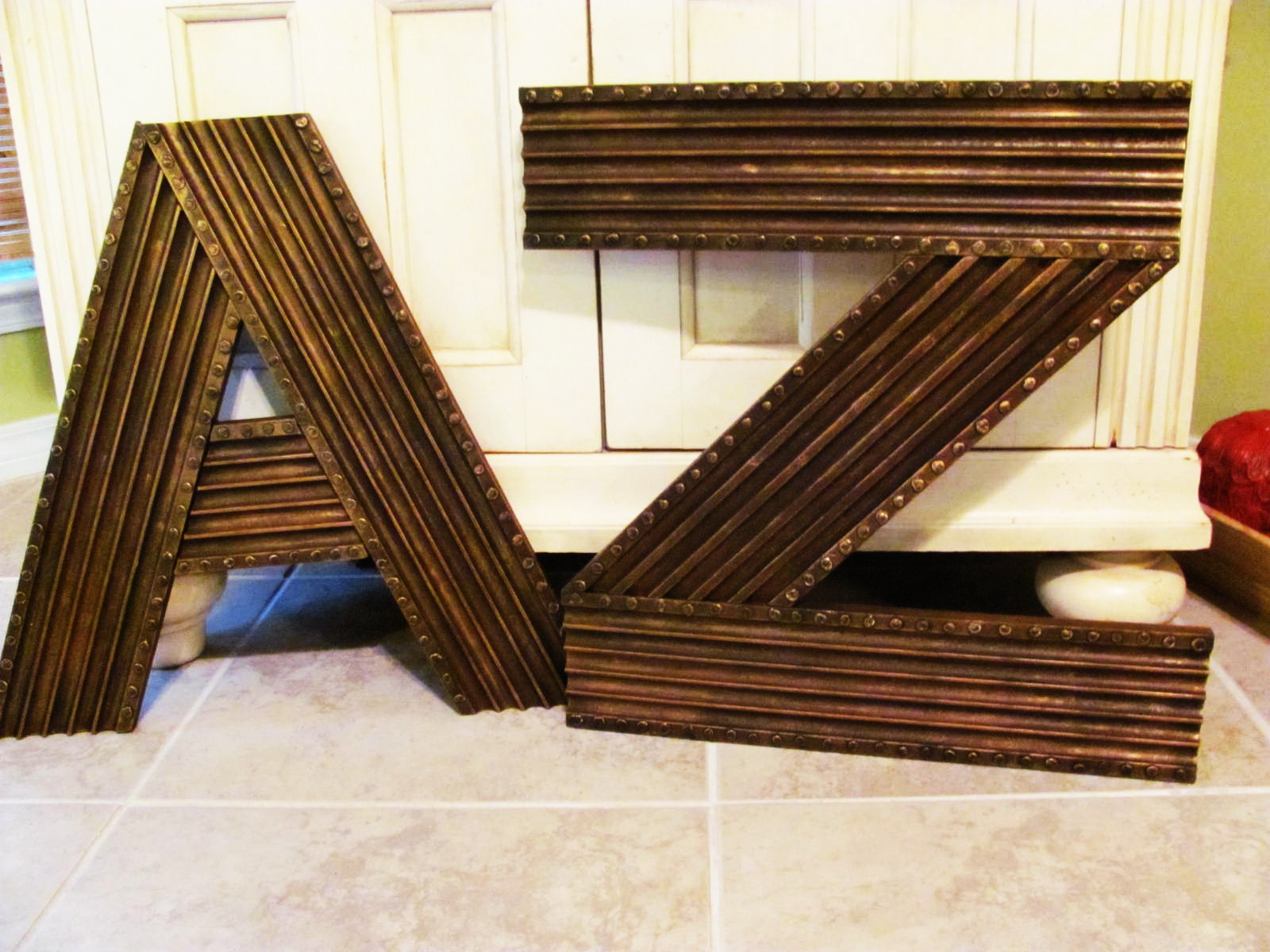 "Metal Letters On Wood Large 24"" Diy Fluted Molding Wooden Alphabet Letters In Metal Look"
