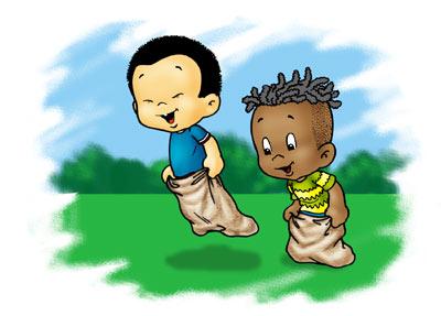 de sacos es un juego muy popular entre los niños de todo el mundo