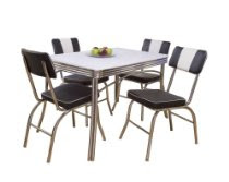 5 Piece Brimingham Retro Dining Set, Black