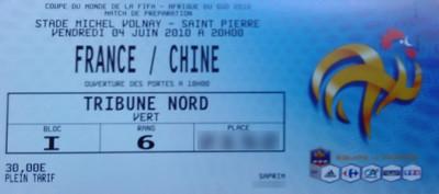 Billet France Chine FIFA 2010