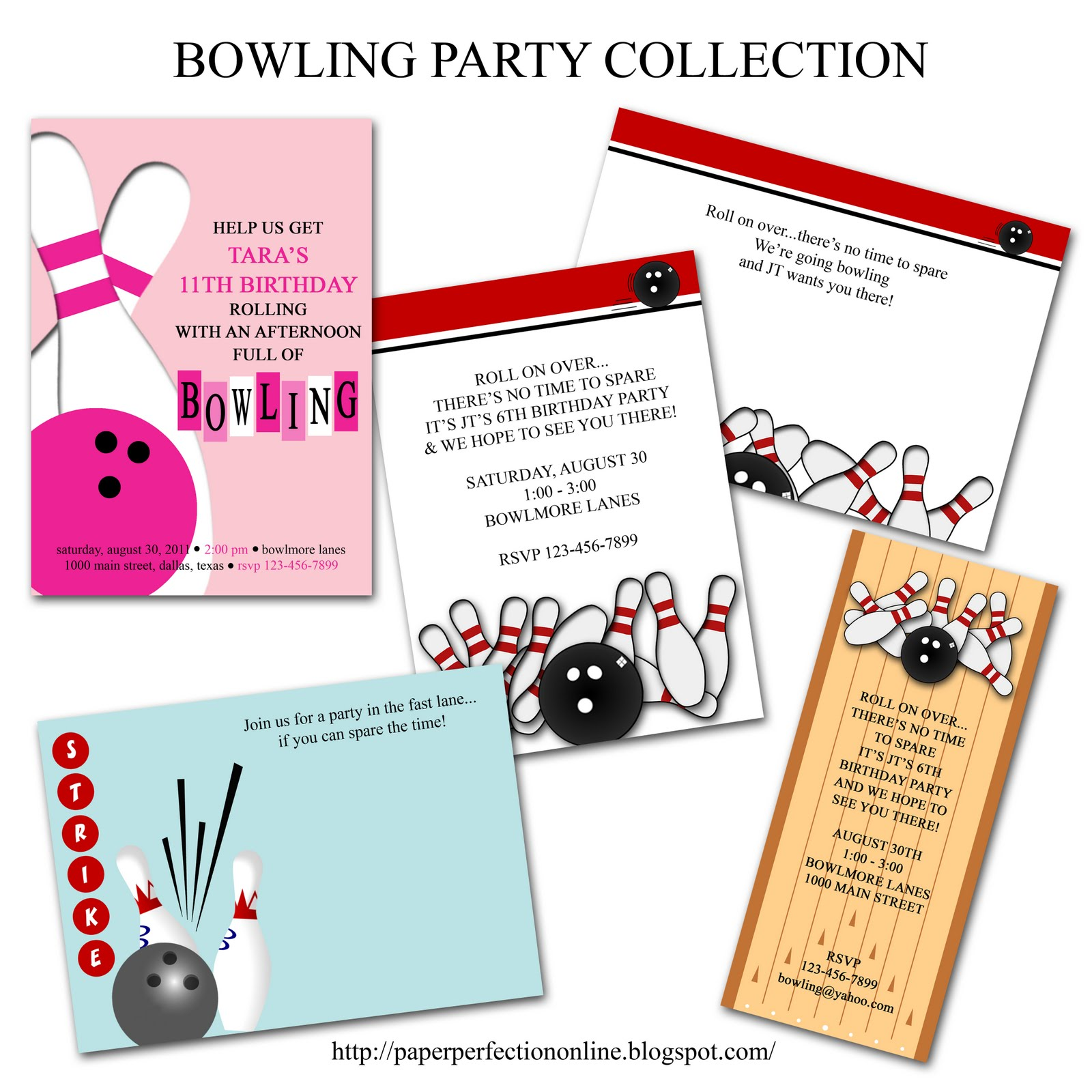 Paper Perfection Bowling Party Printables – Free Bowling Party Invitations