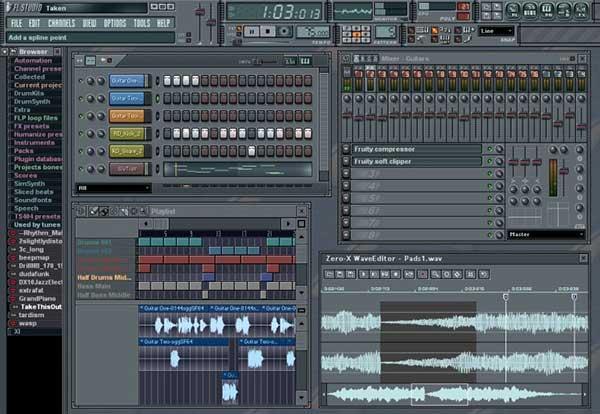 Imagen de la Ventana de FL Studio en la que se muestran multitud de controles de sonído, así como representaciones en forma de hondas del mismo.