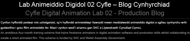 Cyfle Digital Animation Lab 02 - Production Blog