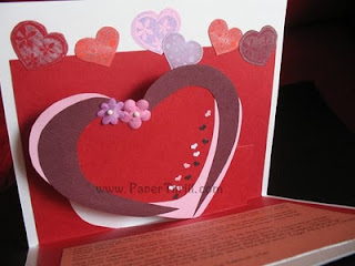 Handmade Pop up heart birthday card