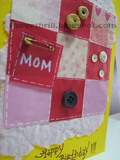 Patchwork blanket birthday card - Yellow closeup
