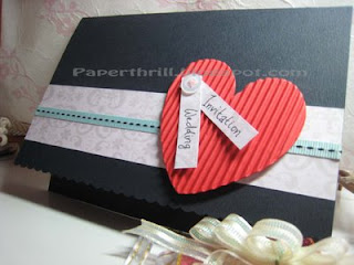 Heart-stitch wedding card