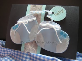 Baby blue baby booties newborn card