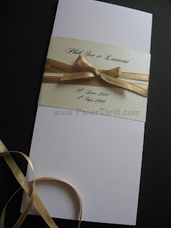 Handmade Vintage gold band wedding invitation