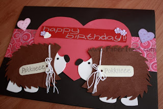 Hedgehog and popup heart birthday card