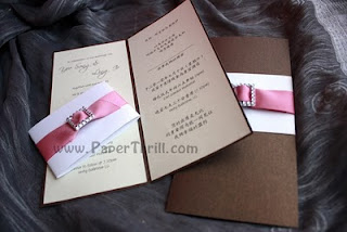 Handmade Pink buckle wedding invitation card