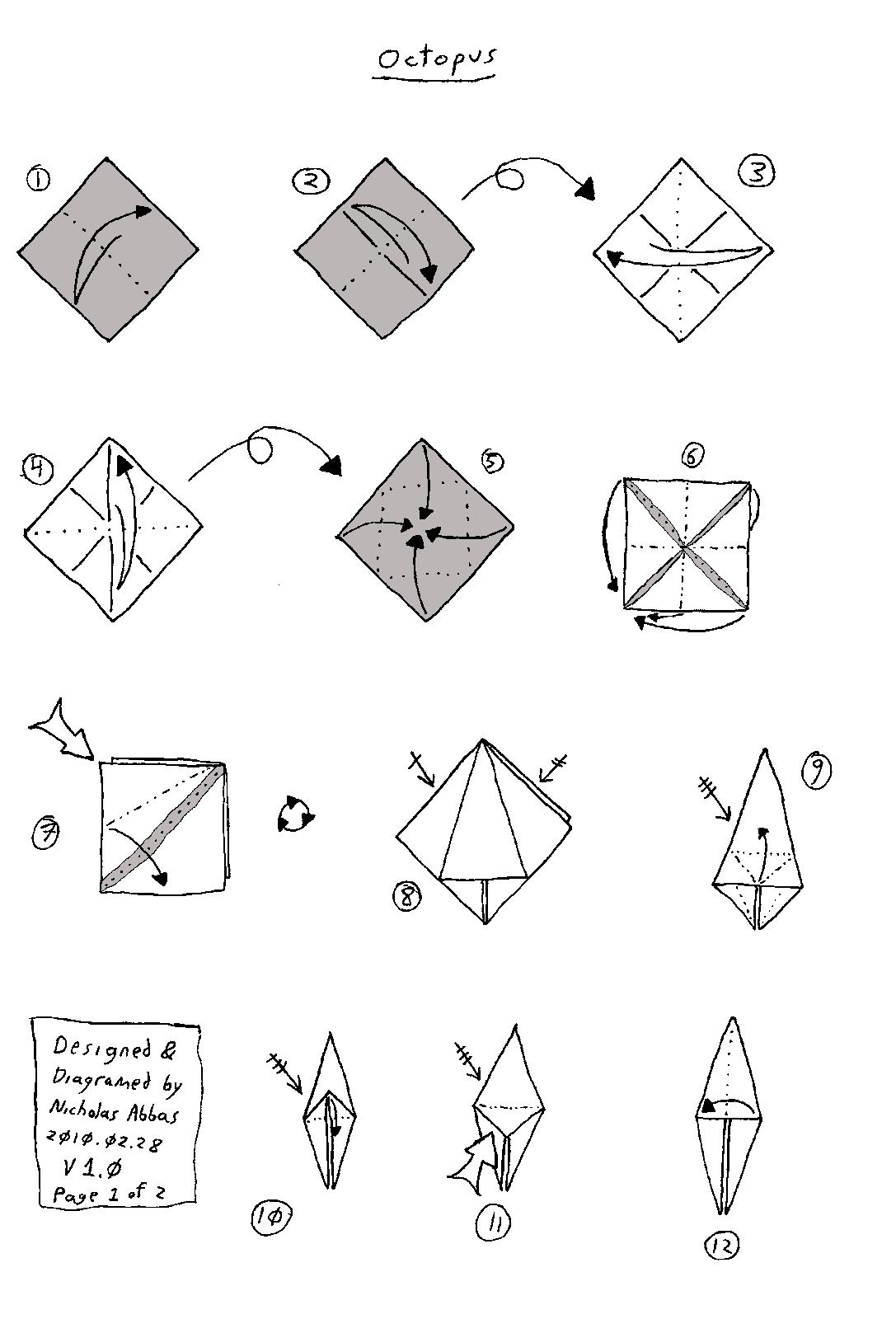 Origami Octopus Diagrams Diagrams Octopus