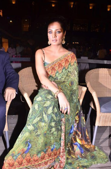 Celina Jaitley in green saari at Launching Jashns  Calendar cleavage