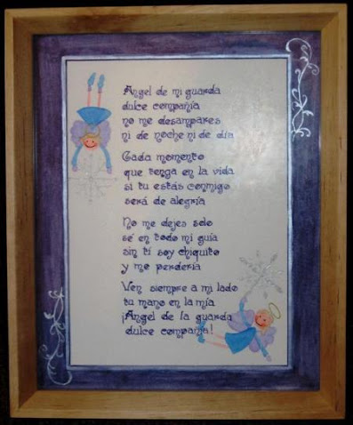 Cuadro con oración al Angel de la Guarda