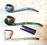 Pipas cubanas de barro ceramizadas con la tecnica de cristalizado
