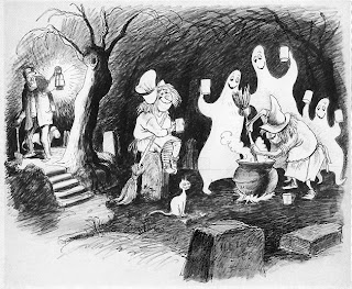 Unused Concept Art From The Haunted Mansion Animated Graveyard Ghosts And Witches