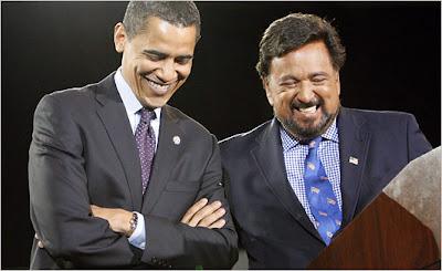 Barack Obama and a bearded Bill Richardson in Portland, Oregon