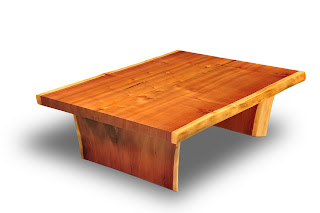 ---- CLARK Functional Art ----  Art as Furniture: CFA Large Coastal Redwood Slab Coffee Table 44inches wide!
