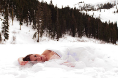 Stunning and glamorous winter wedding bride photograph in the snow.