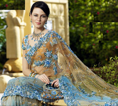 Designer Saree With Floral Design Sareetimes