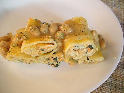 Four Cheese Filled Pasta with Beans