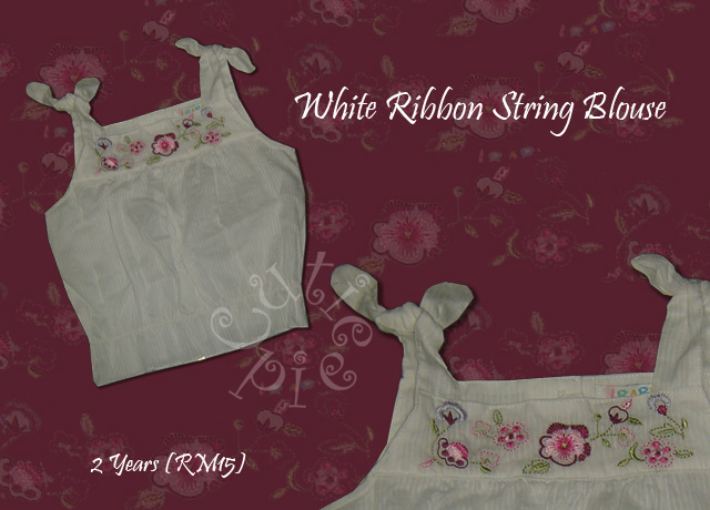White Ribbon String Blouse