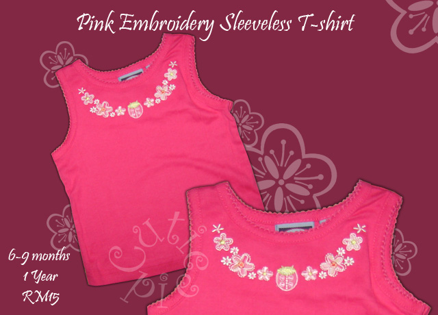 Pink Embroidery Sleeveless TShirt