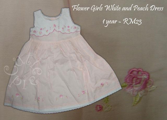Flower Girls White and Peach Dress