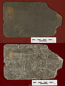 Jamestown archaeologists found a slate tablet covered with faint sketches, words and numbers thrown in what appears to be an original Jamestown well.