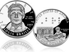 Limited Edition 2009 Louis Braille Bicentennial Silver Dollar
