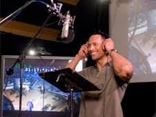 Dwayne Johnson recording the voice of Chuck Baker in Columbia Pictures' animated movie Planet 51