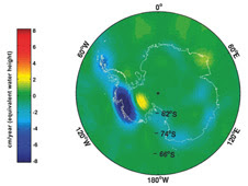 Grace estimate of changes in Antarctica's ice mass, measured in centimeters of equivalent water height change per year