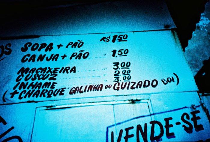 sopa + pão, canja + pão, macaxeira, cuscuz, inhame (+ charque + galinha ou guizado boi)