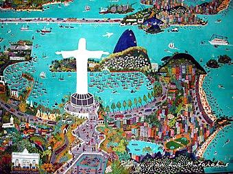 Rio eu gosto de você, cuadro estilo naïf de Lia Mitarakis