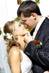 Wedding Hairstyles in Los Angeles Couple Kiss Picture