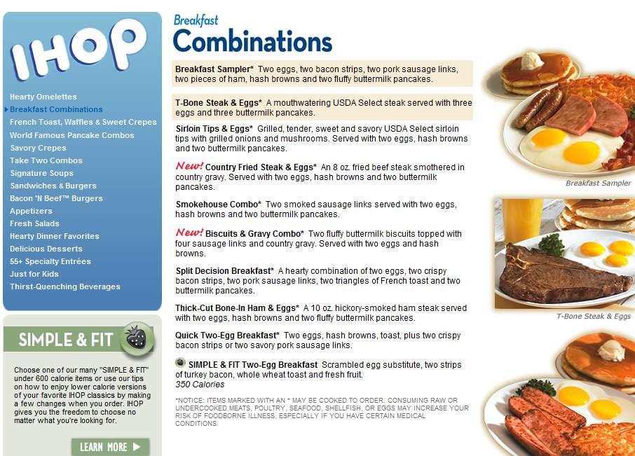 Ihop Restaurant Menu Edmonton