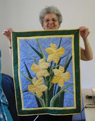 Therese with her paper pierced quilt