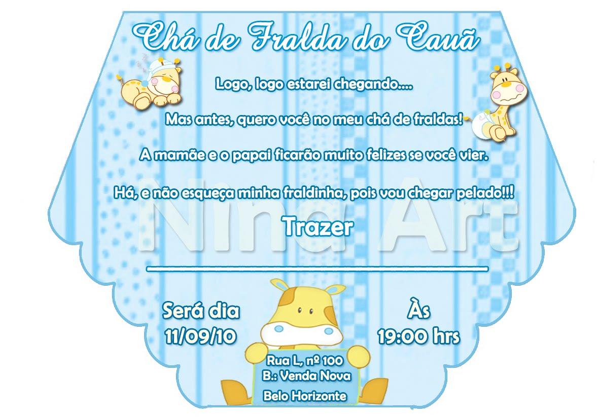 Convites Personalizados - Chá de Bebê ou Fralda