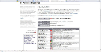 screenshot - examining the IP address using the project honeypot site.