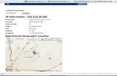 screenshot - information on the IP address from the site ip-whois-lookup.com