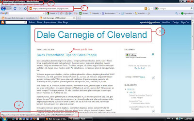 Screenshot Dale Carnegie sample blog revealing the blog structure.