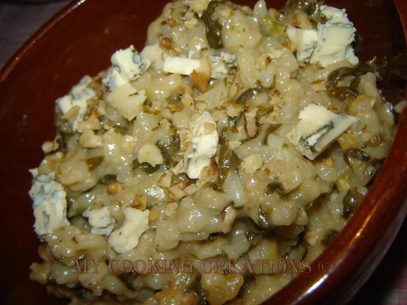 Ризото със спанак и синьо сирене * Risotto con spinaci e gorgonzola