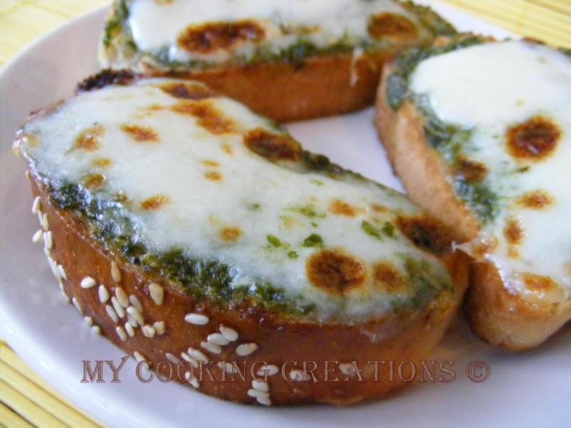 Mia colazione preferita o bruschette con pesto e mozzarella * Моята любима закуска или брускета с песто и моцарела