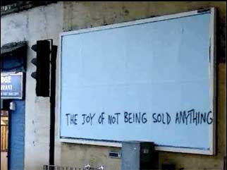 banksy graffiti the joy of not being sold anything